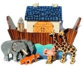 Hand Painted Basic Wooden Noah's Ark Set