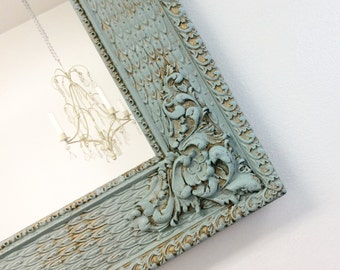 ANTIQUE FRAMED MIRROR Teal Green Framed Mirror Shabby Chic Nursery Antique Wall Mirror Framed Mirrors