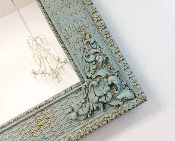 Antique framed mirror teal green framed mirror shabby chic for Teal framed mirror