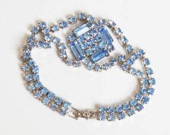 Vintage 50s 60s Rhinestone Bracelet Blue Vintage Jewelry