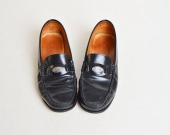 Vintage 90s Black Tods LOAFERS / 1990s Brogues Shoes 6 36