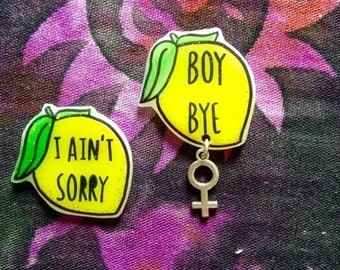 Lemonade, bye boy, emoji, Yas Kween, Yas Queen brooch, feminist brooch, tumblr, 90's fashion, 90's style, dope Badge. Holographic glitter