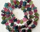 Brand New,Rare Brand New, Amazing Natural AFRICAN Multi Tourmaline Hammered Rock Nuggets Tip Drilled ,8-12mm,Full 8 Inch Strand
