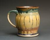 Handmade pottery coffee mug or ceramic teacup 14 oz, amber rust 3010