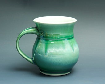 Pottery coffee mug, ceramic mug, porcelain tea cup jade green 14 oz 3418