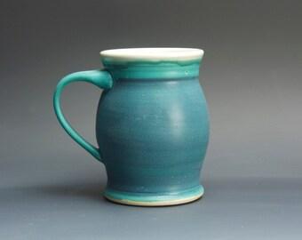 Handmade stoneware coffee mug or teacup turquoise blue 14 oz 3108