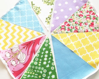 Bunting Banner, Fabric Pennant Flags Garland Green, Pink Strawberry, Purple, Yellow, Blue, Wedding Photo Prop, Baby Nursery, Birthday Party