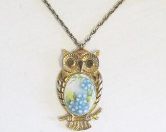 25% OFF SALE Vintage 1970's Owl Necklace / Hippie Retro Golden Owl Blue Floral Pendant Necklace