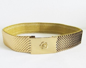 25% OFF SALE Vintage Gold Tone Chain Metal Belt / Chunky Golden Scale 1980's Stretchy Belt