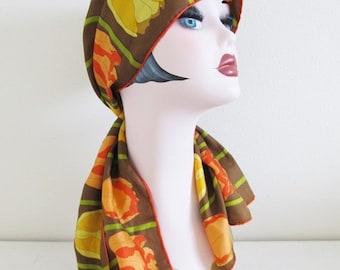 40% OFF SALE Vintage 1960's Orange Tulip Scarf / Long Length Floral Hair Neck Scarf