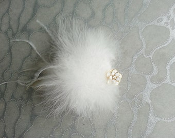 White Hair Clip / Brooch pin Dual Use Ostrich n Marabou feathers w White Gold Flower Rose w Crystal center - Wedding Bride Bridal Festival