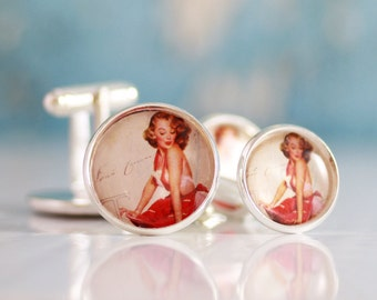 Pinup Cufflinks, Men's Cuff links,  Men's Accessories, Men's Jewelry, Gift For Men's, Groomsmen gift