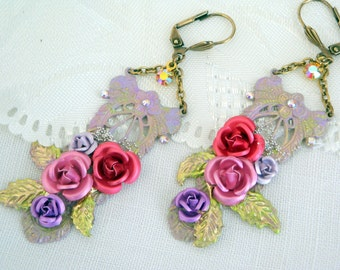 Vintage earrings the  roses