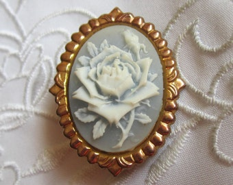 Vintage Gold Tone Pale Blue and White Rose Brooch