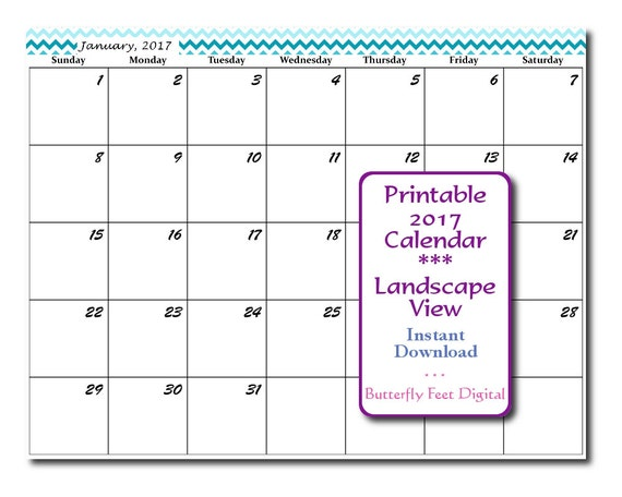 Printable calendar landscape 2017 chevron by for 120 day calendar template
