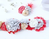 Yuletide Glam-- red, silver and gold maternity sash, bucket wrap and headband set