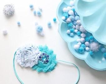 Wintery Wonderland headband teal aqua blue and white chiffon flower band