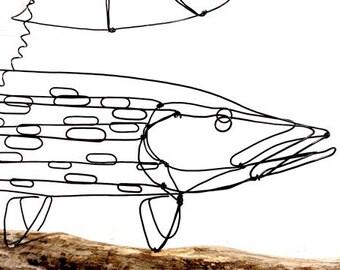 Fish Wire Sculpture, Northern Pike Sculpture, Fish Wire Art, Minimal Sculpture, 256855145