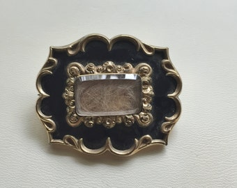 Victorian Mourning Brooch Hair and Enamel Antique