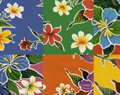 Tropical Hibiscus Flower Oilcloth Yardage
