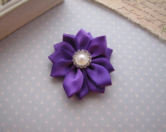 Flower Girl . satin ribbon flower . clippie . girls hair accessory . purple . choose your clip style