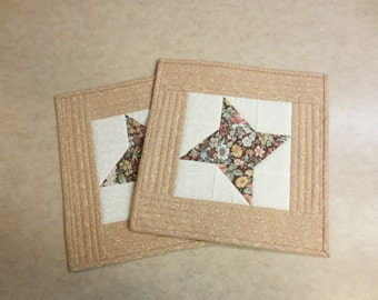 Mug Rugs/ Snack Mats /Small Placemats, Friendship Star, Set of Two