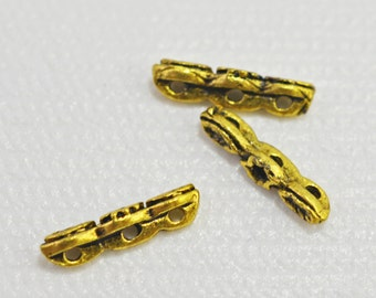 Antique gold plated separators, 3 hole, 12mm - 31715