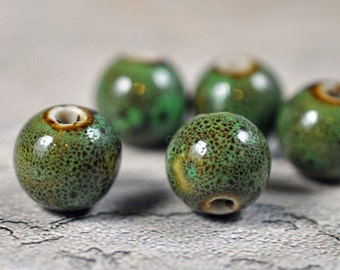 Olive green speckled ceramic beads, 12mm, #259