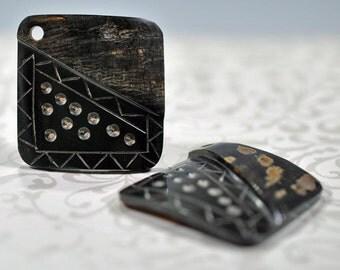 Black horn carved pendants, 35mm, #750