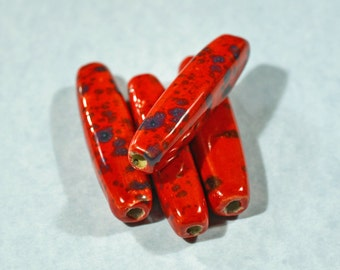 Red/Black spotted ceramic beads, 52x13x10mm #1238