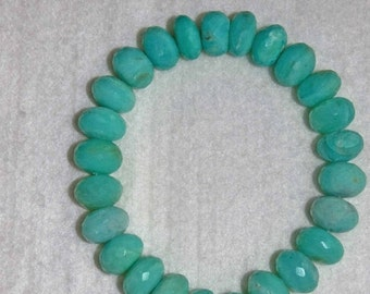 Opal, Peruvian Opal, Blue Peruvian Opal, Faceted Rondelle, Natural Stone, Semi Precious, Gemstone Bead, Half Strand, 12mm, AdrianasBeads