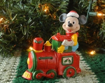 25% OFF SALE Vintage Mickey Mouse Ornament Christmas Decoration Mickey on a Train Gift For Her