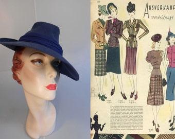 You Turned the Table On Me - Vintage 1930s Slate Blue Peaked Tyrolean Fedora Hat