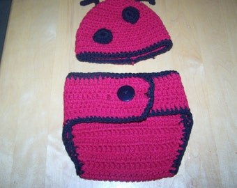 Red Black Lady Bug Hat Diaper Cover Set Photography Prop