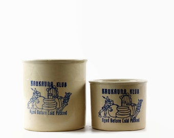 Kaukauna Klub Cheese Crock, Vintage Stoneware Crock, Advertising Crock, Stoneware Jar