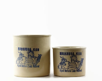 Kaukauna Klub Stoneware Crocks, Farmhouse Kitchen Decor, Small Utensil Crock, Stoneware Jar