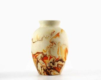 Vintage Nemadji Pottery Vase, Orange and Brown Swirls, Southwestern Decor
