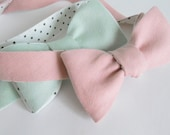 Pastel LInen Bow Tie with Polka Dot Reverse
