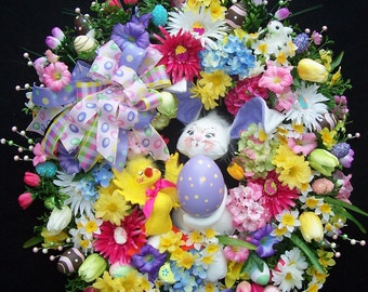 XL Easter Spring Bunny And Friend Door Wreath