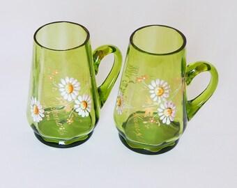 enamel glass cups 2 floral cups souvenir french glass cups