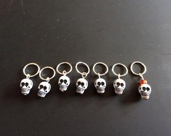 Skull Stitch Markers! Set of 7 - Lightweight!