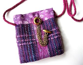 Gypsy purse, cell phone purse, purple woven purse, small purse, cell phone pouch, cell phone holder, boho purse, festival purse,purple purse