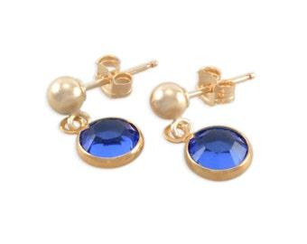 Gold Post Sapphire Girl Earrings, royal blue september sapphire, birthday jewelry, studs, kids earrings, ball posts, present gift, SOPHIE