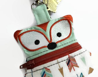 Fox Change Purse, Clip On Coin Pouch, Zippered Coin Purse, Arrow Coin Pouch, Keychain Pouch, Backpack Keychain, Ear-bud Holder, Fox Purse