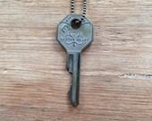 Key Necklace |  LUCKY | Shamrock IRISH St. Patrick's Day IRELAND Hand Stamped