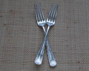 Vintage Silverware Bride Bride Same Sex Sweetheart Cake Forks Table Setting Wedding Reception Custom and Personalized