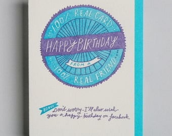 "Letterpress card,  ""Happy Birthday (genuine friend)!"""
