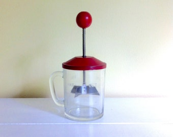 Vintage Nut Chopper, Red Metal Lid, Hazel Atlas Glass, One Cup Measure
