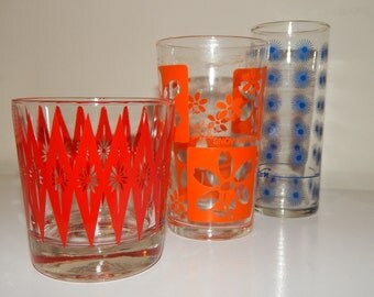 Mixed Lot of 3 Retro 70's Printed Drinking Glasses