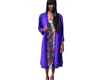 Royal purple WOOL full length trench coat 1990s 90s VINTAGE